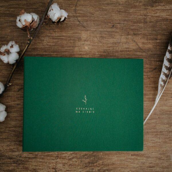 Zielony album ciążowy wykonany ręcznie