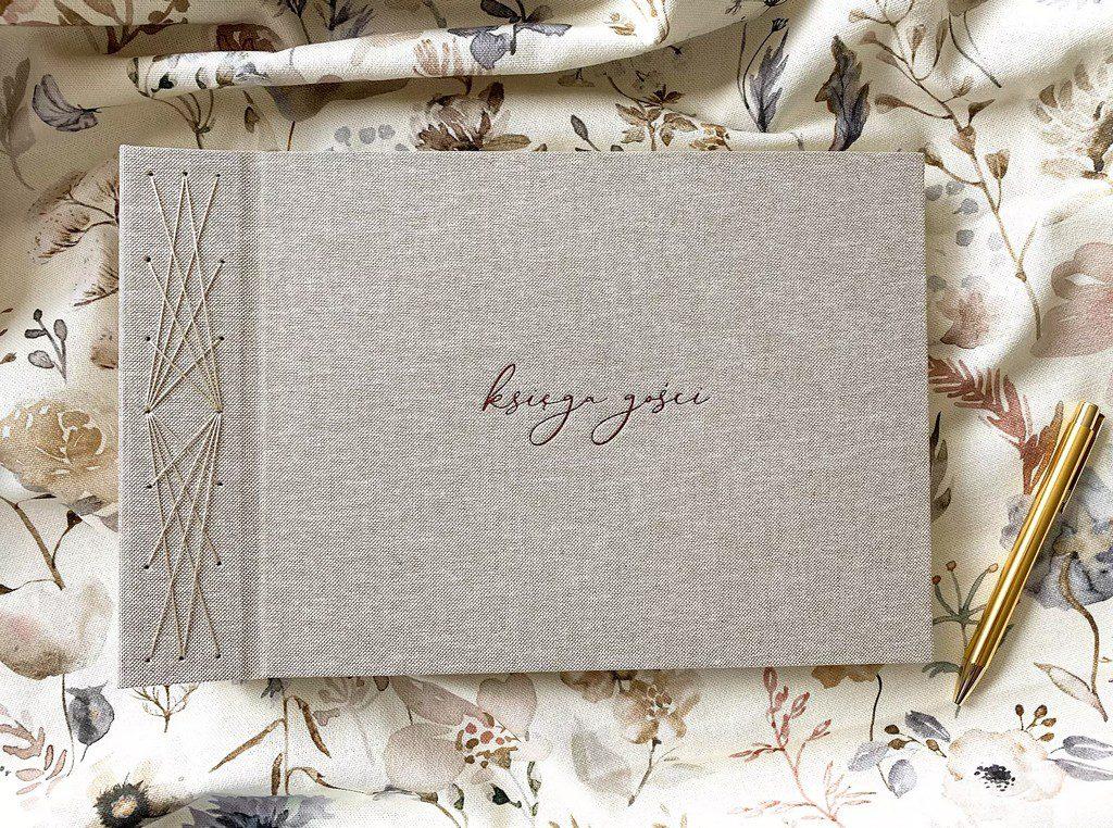 Księga gości do wklejania zdjęć Instax albo z fotobudki w lnianej okładce
